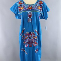 Vintage 1970s Blue Embroidered Mexican Caftan Dress