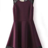Purple Lace Sleeveless Skater Dress