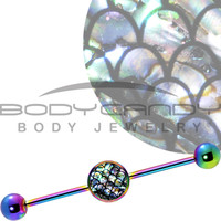 14 Gauge Rainbow Anodized Mermaid Scales Industrial Barbell 37mm   Body Candy Body Jewelry