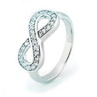 TIONEER Sterling Silver Channel Set Infinity Symbol Ring, Size 7.5