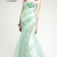 KC14505 Prom Dress Mint Green Lace by Kari Chang Couture
