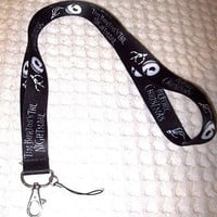 Disney Nightmare before Christmas Black Lanyard/Landyard ID Holder Keychain-New!