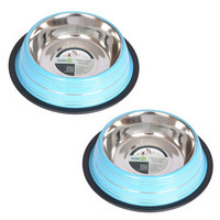 2 Pack Color Splash Stripe Non-Skid Pet Bowl for Dog or Cat - Blue - 24oz - 3 cup
