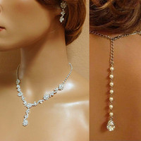 Custom order for Amanda--- Bridal necklace earrings, bridal jewelry set, Bridal back drop necklace earrings set