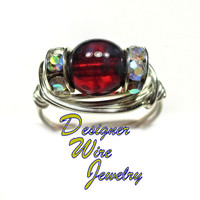 DWJ0257 Czech Glass Ruby Picasso Solitaire Silver Wire Wrap Ring All Sizes