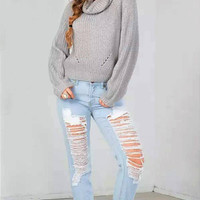 Grey High Roll Neck Chunky Knit Sweater