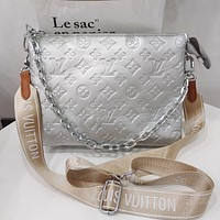 LV Louis Vuitton solid color embossed letters ladies shopping chain handbag cosmetic bag shoulder bag Silvery