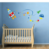Kids-Rooms-Nursery-Wall-Decal - Space Rocket - Wall Decals , Home WallArt Decals