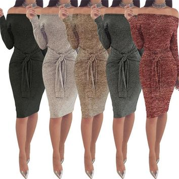 Spring Women Vestidos Dresses Elegant Evening Sexy Party Dresses Vintage With Slash Neck Casual Club Dress Bandage For Womens Clothing