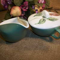 Green and White Ceramic Creamer and Sugar Bowl Botanical Lily Flower Serving Set Vintage Tableware Cottage Chic Pitcher Covered Dish