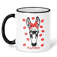 Funny Donkey Mug, Donkey with Bandana Coffee Mug, Kiss my Happy, Donkey Coffee Mug, Gift for Best Friend, Inappropriate Mugs, Donkey Gift