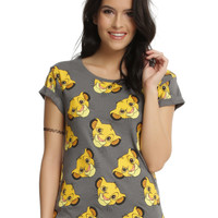 Disney The Lion King Simba Faces Cuff-Sleeved Girls T-Shirt