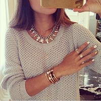 FASHION HOLLOW OUT KNIT SWEATER