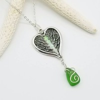 Religious jewelry, angel wings necklace, seaglass jewelry, angel wings seaglass necklace, genuine seaglass, beach lovers gift