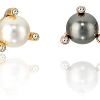 Michael Kors Womens Modern Classic Pearl Stud Earrings Set