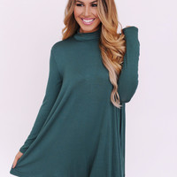 Long Sleeve Mock Neck Dress- Hunter Green