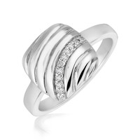 Sterling Silver Square Diamond Accented Wave Motif Rhodium Plated Ring: Size 7