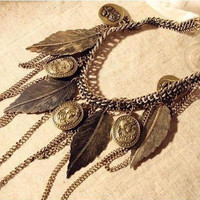 Retro Hanging Leaf Chains and Coins Necklace