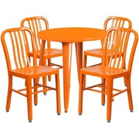 30'' Round Metal Indoor-Outdoor Table Set with 4 Vertical Slat Back Chairs