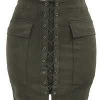 Army Green Suede Lace Up Mini Skirt Maverlly