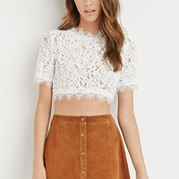 Rope-Embroidered Eyelash Lace Top
