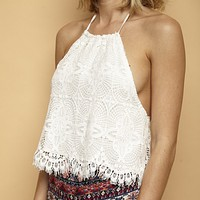 Final Sale - Gauzy Crochet Boho Halter Top