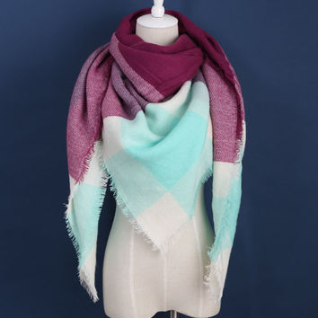 Piper Plaid Scarf in Light Blue & Maroon