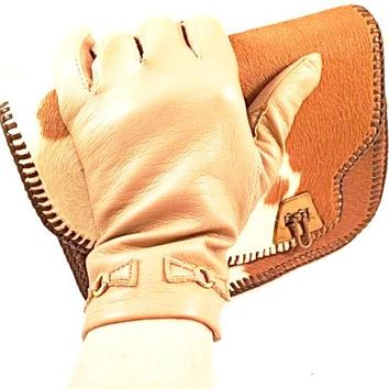 Vintage Taupe Gloves Faux Leather Luxurious Winter Accessory