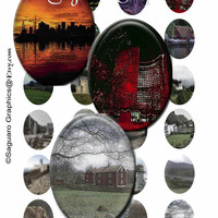 TOWN & COUNTRY - 30x40mm Ovals - Digital Collage Sheet Photos for Pendants, Jewelry Makers, Arts and Crafts sg129