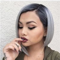 Women Ombre black gray Straight short bob Synthetic Hair Full Cosplay Party Wig + Wig Cap