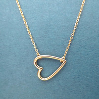 Gold, Open, Heart, Necklace, Simple, Dainty, Minimal, Modern, Jewelry, Heart, Necklace, Gift, Birthday, Christmas, Everyday, Necklace