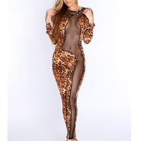 RG70129 New fashion club hollow out bodysuit long sleeve rompers womens jumpsuit  summer skinny sexy jumpsuit