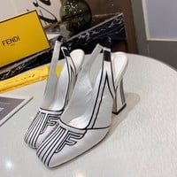 FENDI Autumn Popular Women Pointed High Heels Sandals Shoes white