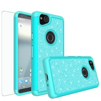Google Pixel 2 Case, Pixel 2 Glitter Bling Heavy Duty Shock Proof Hybrid Case with [HD Screen Protector] Dual Layer Protective Phone Case Cover for Google Pixel 2 - Teal
