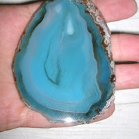 Large Agate Freeform Slice, Gorgeous blues, polished and drilled st top center for DIY jewelry, DIY crafts, rock collectors, large agate,