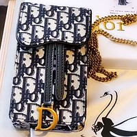 Dior mobile phone bag canvas chain mobile phone bag print chain bag