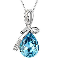 Austrian Crystal Silver Plated Pendant Jewelry