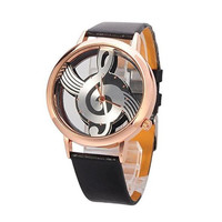 Music Notes Leather Band Strap Wrist Watch Black