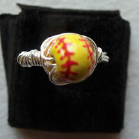 SOFTBALL RING LADIES RING WIRE WRAP SILVER PLATED SPORTS BEAD YELLOW RED BALL