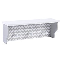 Baby Book Shelf - Dove Gray Chevron Wall Shelf