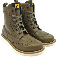 Boys Olive Green Lace-Up Boots with Zipper