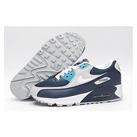 NIKE AIR MAX 90 fashion ladies men running sports shoes sneakers F-PS-XSDZBSH Navy blue + gray