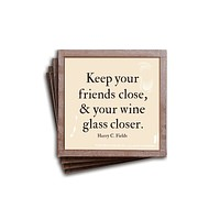 Keep Your Friends Close Copper & Coaster, Set of 4
