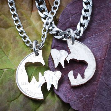 Teeth BFF or Couples Necklaces, Dental Hygienist, Dentist, Tooth Gift by Namecoins
