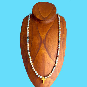 Cross Necklace - Amazonite Knotted Necklace with Natural Wooden Cross Pendant