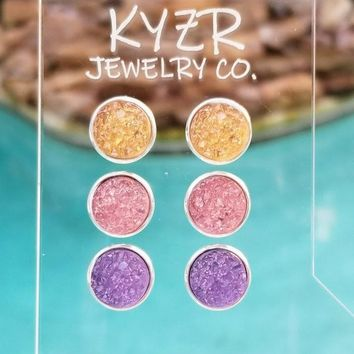 Druzy earring set- Apricot/ Pink and Lilac drusy stud set