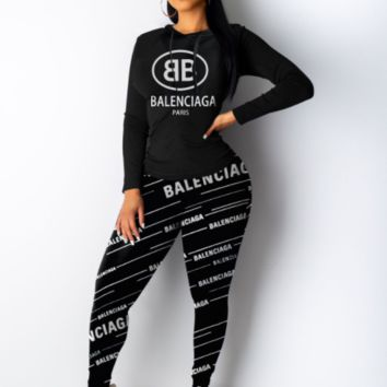 balenciaga Casual Print Hoodie Top Sweater Pants Trousers Set Two-piece High quality Sportswear