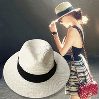 New female sombreros women summer hat  classic black girdle Panama sunhats Jazz Hat beach hats for women chapeau de paille femme