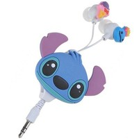 Lovely 3.5mm Stitch Design Earphones with Auto Retract Cable & Clip