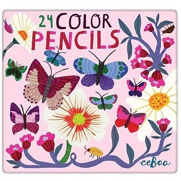 eeBoo Butterflies and Flowers 24 Color Pencils Tin